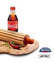 Hot Dog MAXX z kiełbaską chorizo +  Coca-Cola 0,5 l