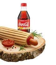 Hot-dog MAXX z kiełbasą morlińską z kurczaka + Coca-Cola 0,5 l