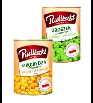 Groszek konserwowy, kukurydza Pudliszki