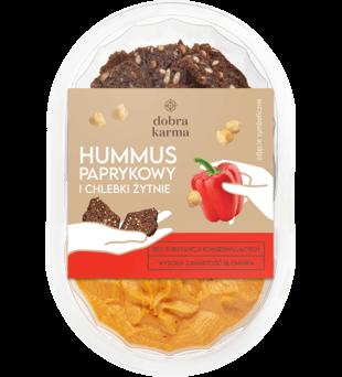 Hummus paprykowy i chlebki żytnie